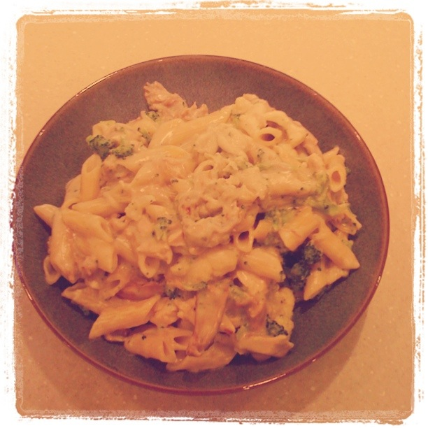 Pasta, Turkey, Broccoli, and Cauliflower in a blue cheese sauce